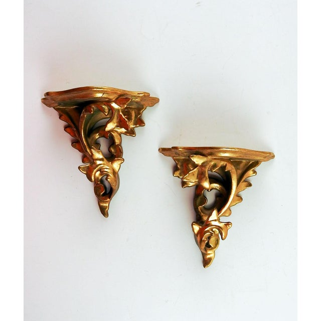 1960s Italian Carved Gilt Wood Wall Shelf Brackets - a Pair For Sale - Image 5 of 5