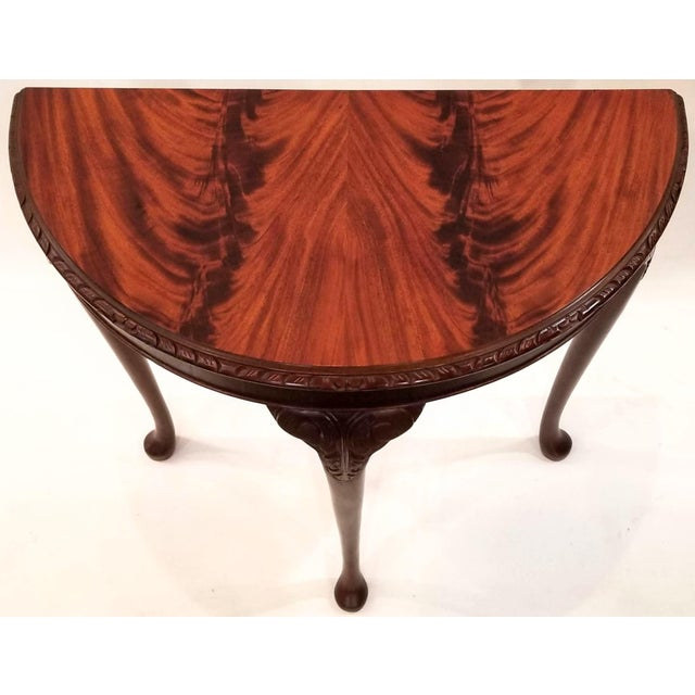 English Edwardian Flame Mahogany Topped Georgian Style Demi-Lune Console Table For Sale - Image 9 of 9