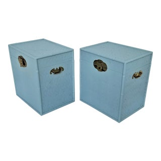 Vintage Split Bamboo Blue Trunk Nightstands - a Pair - Tropical Coastal Boho Chic Hollywood Regency Mid Century Modern