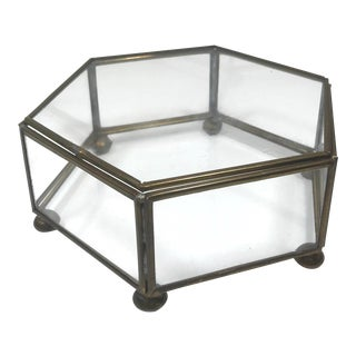 Vintage Mid-Century Brass and Glass Hexagon Display Box For Sale