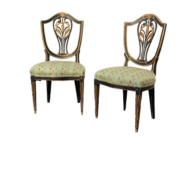 Early 19th C. Neoclassical European Shield Back Side Chairs - a Pair For Sale - Image 10 of 11