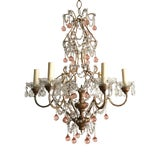 Image of Italian Gilt Iron and Crystal Chandelier With Pink Murano Drops For Sale