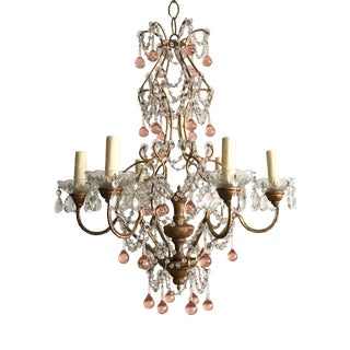 Italian Gilt Iron and Crystal Chandelier With Pink Murano Drops For Sale