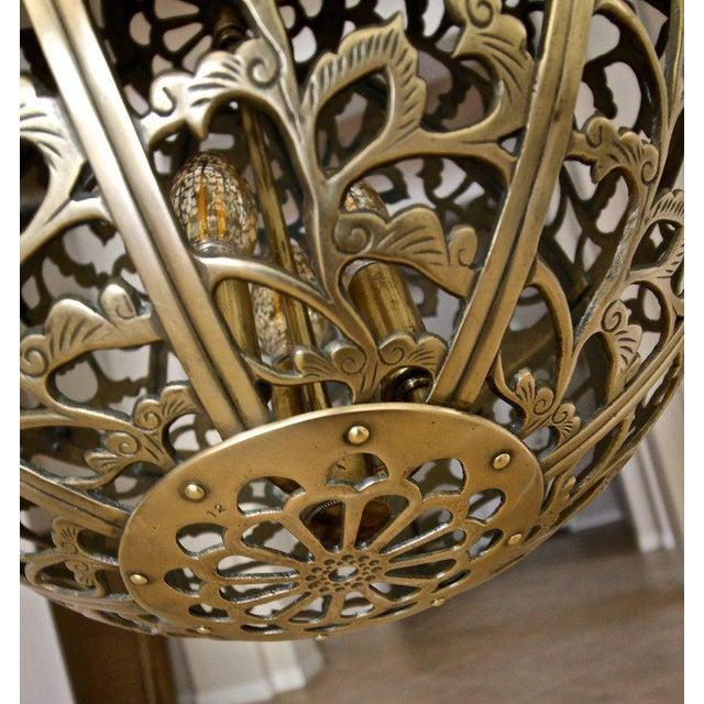 Brass Large Japanese Asian Pierced Filigree Brass Ceiling Pendant Light For Sale - Image 7 of 11