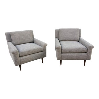 1960s Vintage Upholstered Lounge Chairs- a Pair For Sale