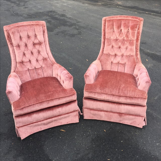 Vintage Mauve Velvet Hollywood Tufted Club Chairs - Pair - Image 2 of 11