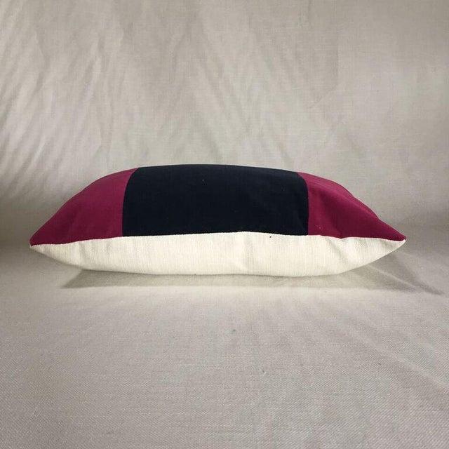 Modern Kim Salmela Magenta & Navy Felt Pillow For Sale - Image 3 of 3