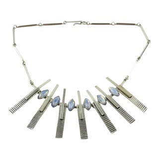 Mid Century Space Age Chrome Modernist Rigid Necklace With Glass Cabochons For Sale