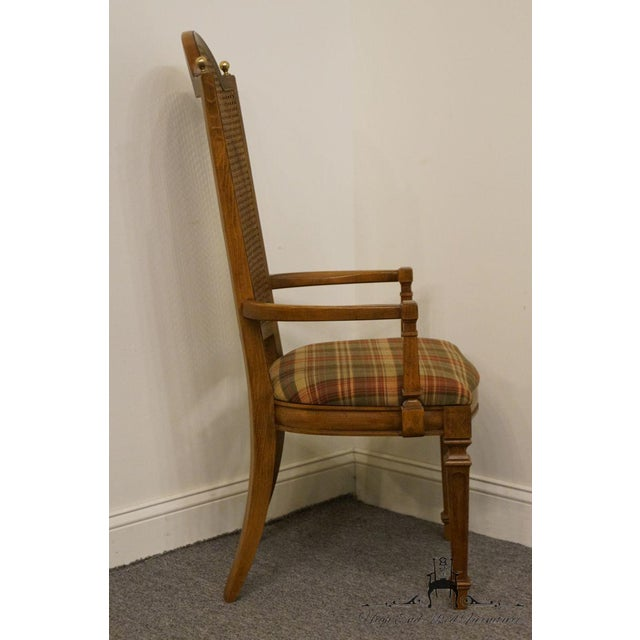 Brown Late 20th Century Vintage Thomasville Furniture Cellini Collection Cane Back Dining Arm Chair For Sale - Image 8 of 13