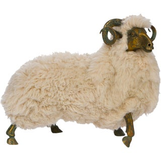 Solid Bronze & Fur Sheep Sculpture For Sale