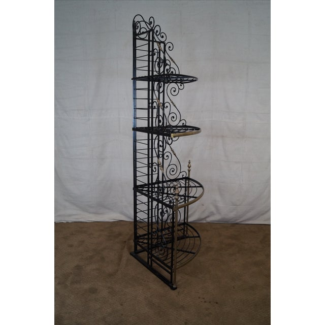 Quality Vintage French Iron Corner Bakers Rack - Image 7 of 10