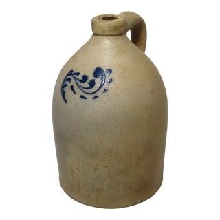 Antique Early American Stoneware 1 Gallon Liquor Jug Circa 1890s For Sale