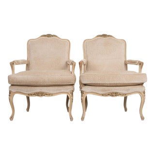 19th Century Louis XV Style Crème Peinte Fauteuils - a Pair For Sale