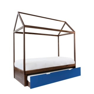 Domo Zen Twin Trundle Canopy Bed in Walnut With Pacific Blue Finish For Sale