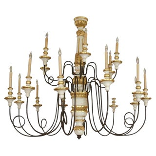 18 Lite Iron & Wood Chandelier From Florence For Sale