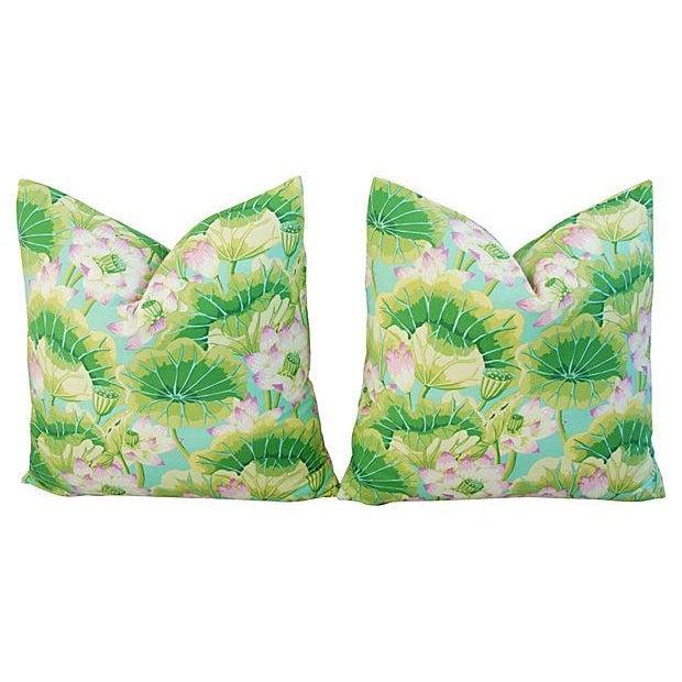 Kaffe Fassett Green Lotus Pillows - A Pair - Image 8 of 8