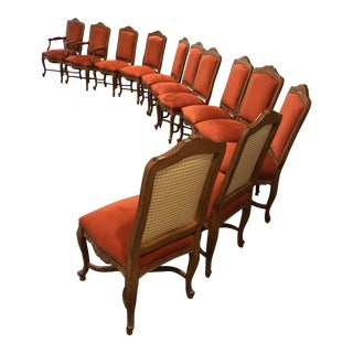 Louis XV Provençal Upholstered Dining Room Chairs - Set of 10 For Sale