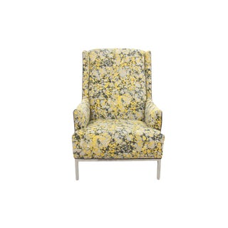 Kravet Upholstered Mid Century Modern Wingback Chair For Sale