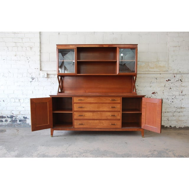 Johnson Furniture Co. Renzo Rutili for Johnson Furniture Co. Mid-Century Modern Sideboard Credenza with Hutch Top For Sale - Image 4 of 11