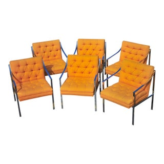 Steel Case Chrome and Orange Button Back Arm Chairs - Set of 6