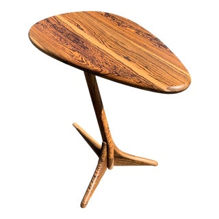 Exotic Bocote Sculptural Side Table For Sale