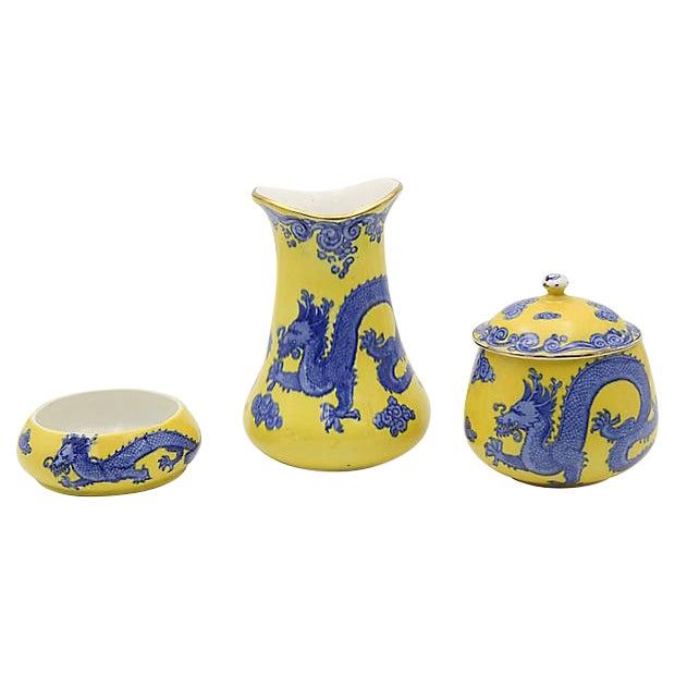 Antique English Dragon Vanity Set For Sale