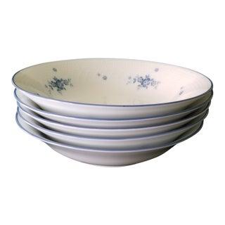 Noritake Blue Flowers & Trim Design Soup Bowls - Set of 5 For Sale