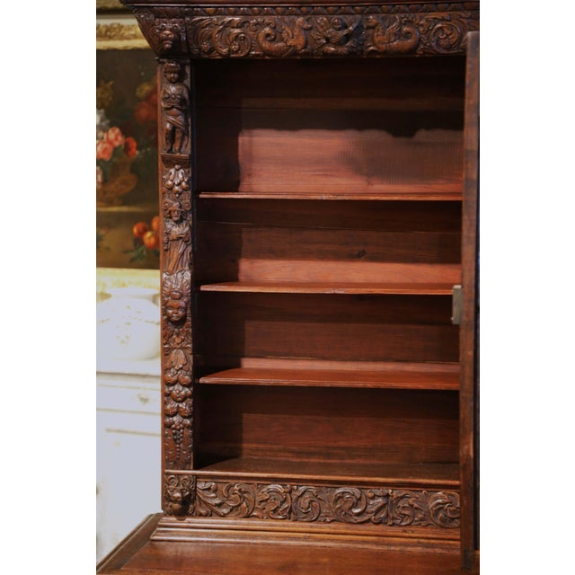 Metal Mid-19th Century French Louis XIII Heavily Carved Oak Secretary Bookcase Desk For Sale - Image 7 of 13