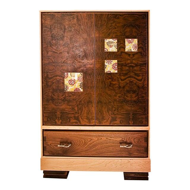 """Window"" Burl Wood Cabinet For Sale"