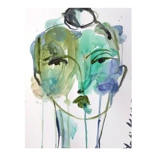 """Leslie Weaver """"Color Splash Face"""" Original Acrylic Painting For Sale"""