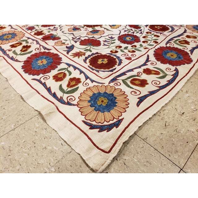 Late 20th Century 20th Century Asian Suzani Textile Rug - 3′3″ × 3′4″ For Sale - Image 5 of 9
