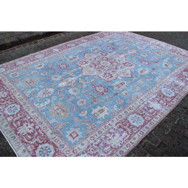 Islamic Vintage Tabriz Wool Rug - 7′ × 10′1″ For Sale - Image 3 of 9