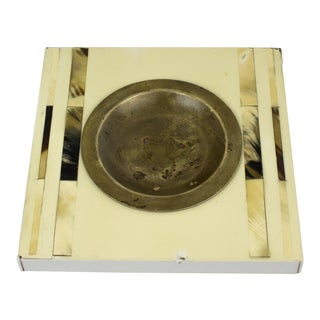 1960s Vintage Brass & Horn Square Ashtray For Sale