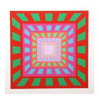 """1970s Roy Ahlgren, """"Modular Fusion"""", Op Art Screenprint For Sale"""