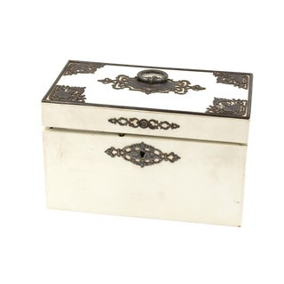 Elegant Painted English Victorian Period Tea Caddy With Elaborate Metalwork, Circa 1890. For Sale