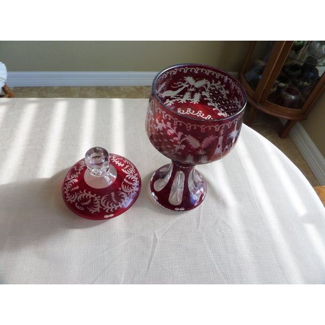 Red Bohemian Ruby Cut to Clear Covered Compote For Sale - Image 8 of 11