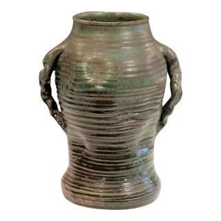 Japanese Style Vintage Studio Pottery Arts & Crafts Vase Ribs Crystalline For Sale