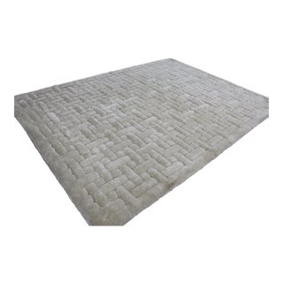 """Mid Century Modern Style Geometric Off White Shag Rug Room Size 8 X 10' 9"""" For Sale"""