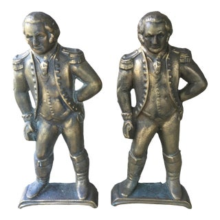 Vintage George Washington Brass Andirons - a Pair For Sale