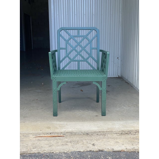 Vintage Green Fretwork and Cane Arm Chair For Sale In Miami - Image 6 of 7