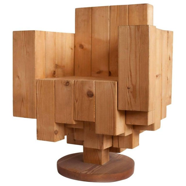 Brown Giorgio Marian Italian Sculptural Cubist Pine Wood Armchair For Sale - Image 8 of 8