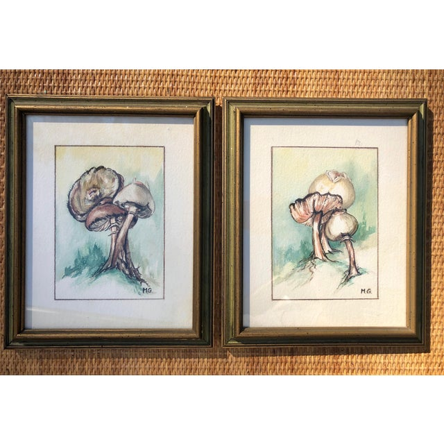 Paint Framed Original Mushroom Watercolor Paintings - a Pair For Sale - Image 7 of 7
