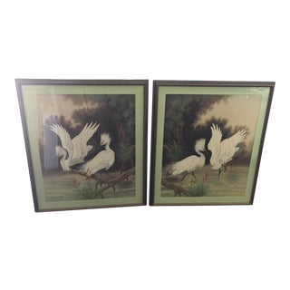 Pair of Vintage Airbrush Paintings of Egrets 1951 For Sale