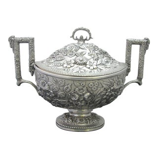 Antique S Kirk & Son Sterling Silver Repousse Tureen with Lid For Sale