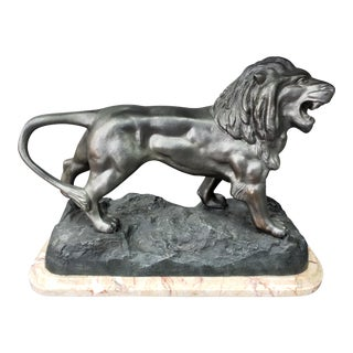 1920s French Art Deco Walking Lion Spelter Sculpture on Marble Base For Sale