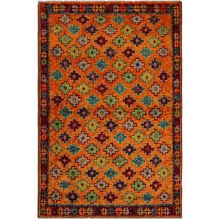Balouchi Esmerald Orange/ Blue Wool Rug - 3'7 X 4'11 For Sale