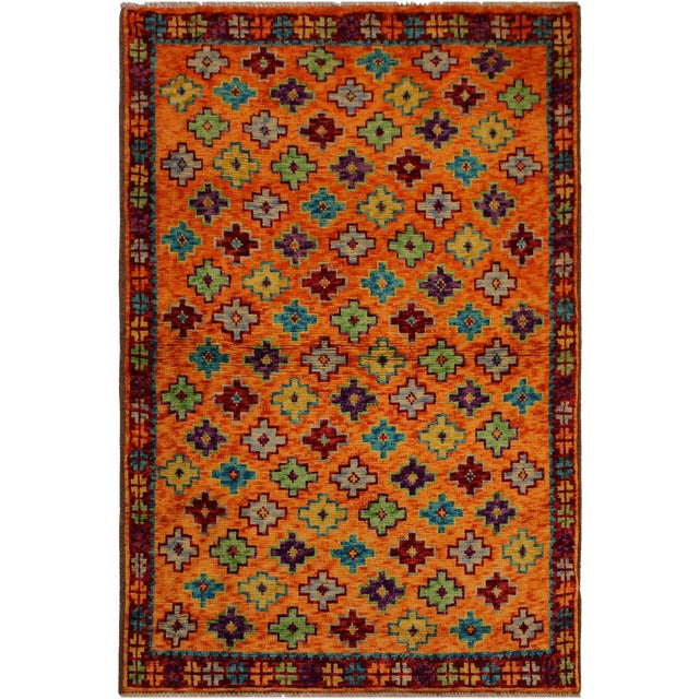 Balouchi Esmerald Orange/ Blue Wool Rug - 3'7 X 4'11 For Sale