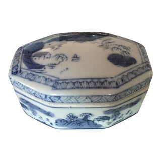 Vintage Asian Blue and White Ceramic Trinket Box For Sale