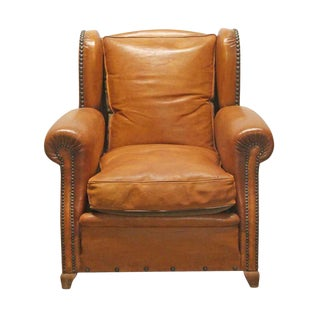 Leather Vintage Bergere Club Chair For Sale