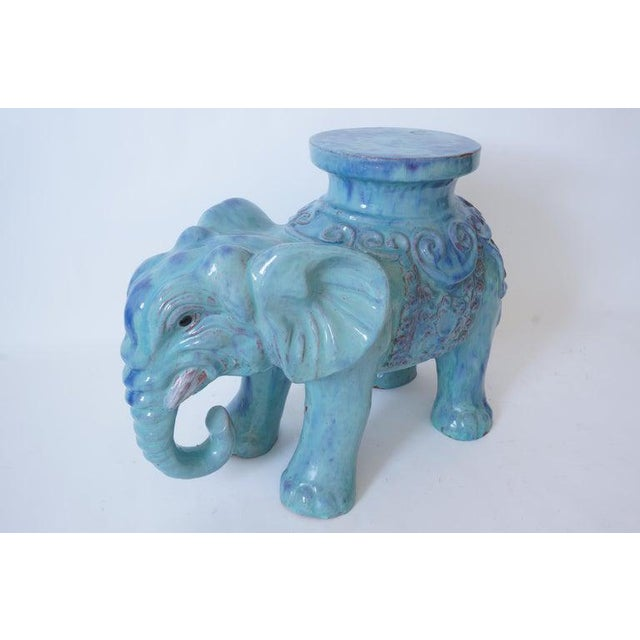 Mid-Century Elephant Figure Garden Stool or Drinks Table Blue Glazed Terra Cotta From Italy For Sale - Image 11 of 11